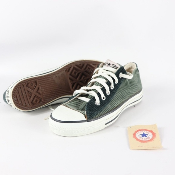 a9f01019fe91 Vintage New Converse All Star Corduroy Shoes Green